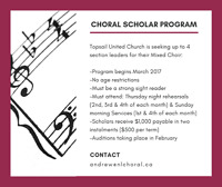 Paid Choral Scholar Program - Seeking up to 4 Section Leaders
