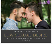 Wanted: COUPLED MEN with LOW DESIRE for PAID Study
