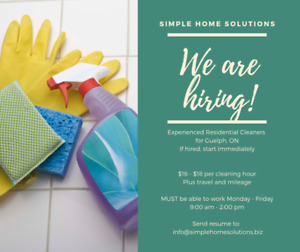 PART TIME, Residential Cleaner needed