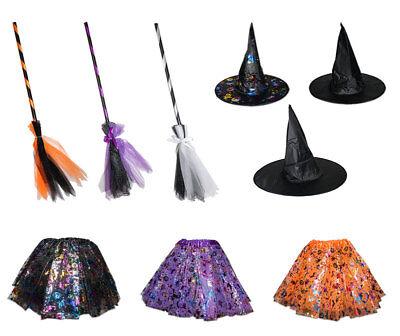 3 tlg Hexenkostüm für Kinder Hut Rock Besen Hexe Karneval Fasching Zauberer Bunt ()