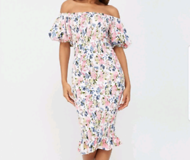 Summer Shirred Midi Dress by Very. Brand New with tags. UK 14
