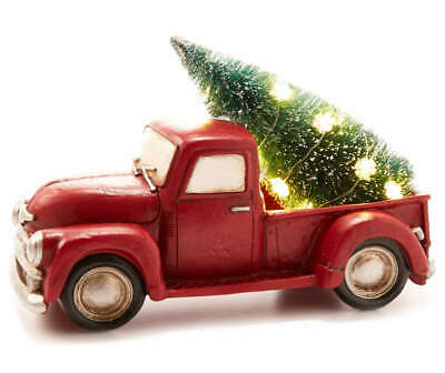 Vtg Red Pick-Up Truck & Xmas Tree LED lights Tabletop Decor Timer New with Tags