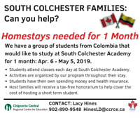 South Colchester area - 1 month Host Families Needed