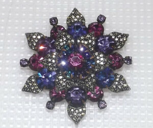Vintage Signed WEISS MultiColored Rhinestone BROOCH