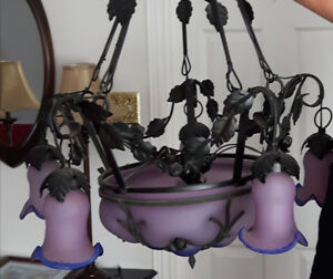 Roth iron flower themed chandelier