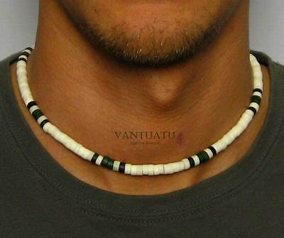 "MALIBU BEACH Mens Beads Necklace Choker for Men Man Surfers Boy 18"" beach gift"
