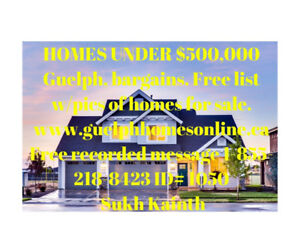 Guelph Homes Under $500,000 Free Iist