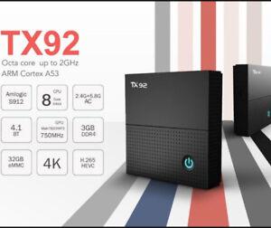 TX92 2GB DDR3 RAM Android Media Kodi 17.6 IPTV