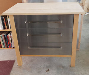 IKEA stainless steel and butcher block drawer unit cabinet