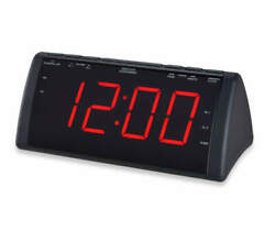 Sylvania Black Jumbo Dual Alarm Clock Radio, 1.8 Display, USB Charging (NEW)