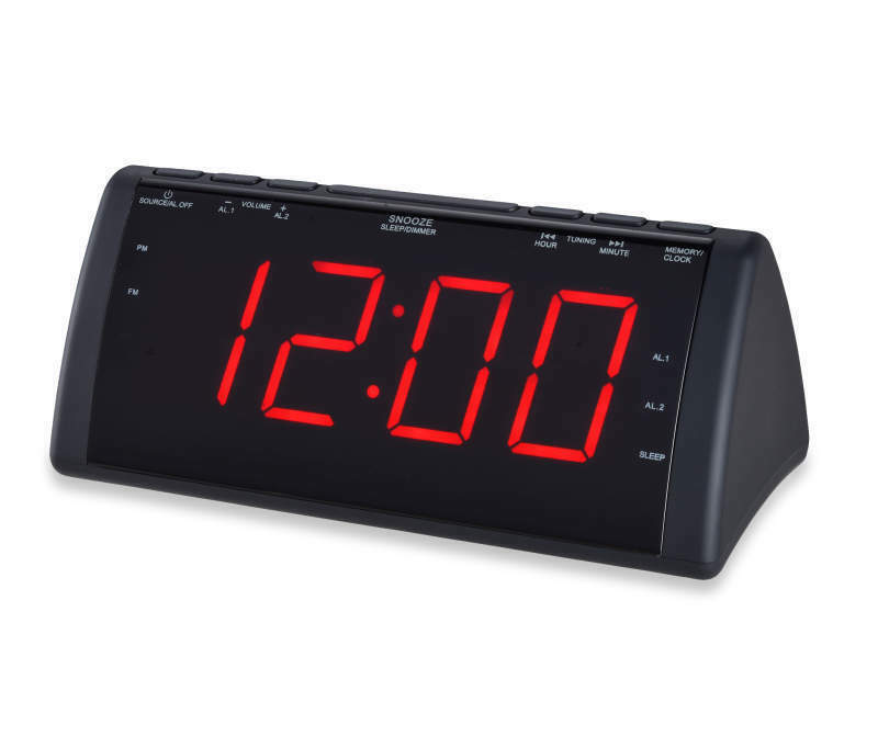 "Sylvania Black Jumbo Dual Alarm Clock Radio, 1.8"" Display, U"