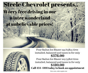 Unbelievable prices on new winter tires at Steele Chevrolet