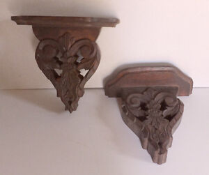 Wall brackets - hand carved