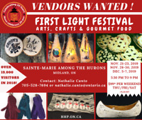 Vendors Wanted for FIRST LIGHT event in Midland, ON!