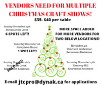 VENDORS NEEDED FOR MULTIPLE CHRISTMAS SHOWS!!!