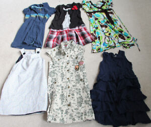 Lot of 6 Girls Size 6-7 Summer Dresses /Long T-Shirt Tops