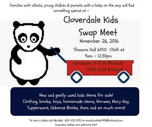 Kids Swap Meet Cloverdale Fairgrounds November  26 / 2016