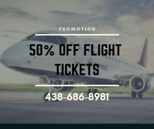 Flight promotion 50 % off