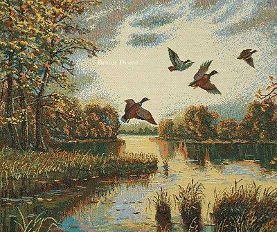 Ducks Tapestry (WALL JACQUARD WOVEN TAPESTRY Landscape with Ducks WILD LIFE - EURO ART PICTURE )