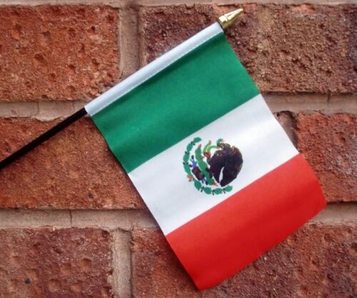 """MEXICO HAND WAVING FLAG small 6"""" x 4"""" with 10"""" pole MEXICAN FLAGS"""