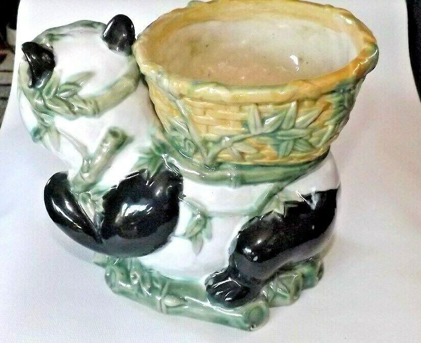 Vintage Large Panda with Baby Panda Planter or Candy Dish  Handpainted