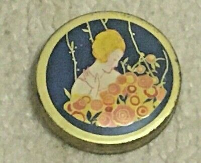 Vintage Art Deco Encharma Face Powder Sample Tin Container, Full, Only 1 on Ebay