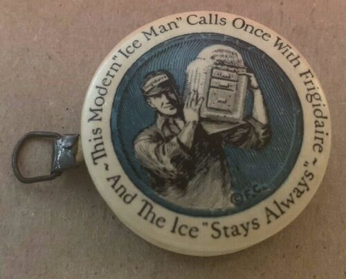 04/25  1919 Frigidaire Promotional Celluloid Sewing Tape Measure w/ Ice Man