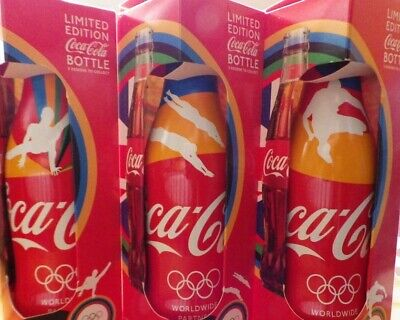 COCA COLA / COKE ~ LONDON OLYMPICS 2012 ~ 3 ALUMINIUM BOTTLES IN BOXES ~ PERFECT