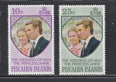 PITCAIRN ISLANDS - 135 - 136 - MNH- 1973 - WEDDING OF PRINCESS ANNE