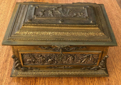 Antique Large Scenic Jewelry Box Casket / Heavy Brass / Key / Red Velvet / Spain