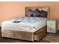 CRUSHED VELVET DIVAN BED - INCLUDING MATTRESS AND HEADBOARD