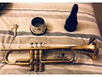 Holton Trumpet in B-flat, Mouthpiece, Mute(s) and Sheet Music Collection