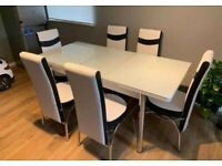 EXTENDABLE HIGH GLOSS DINING TABLE WITH 6 CHAIRS NOW IN STOCK