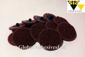 50pcs SIA Abrasives Scotch Brite 50mm Medium-Red Roloc Twist Change Discs 3M