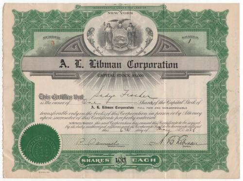 ARNOLD ROTHSTEIN 1925 Company Stock Certificate - New York Mafia Gangster