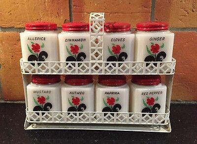 Vtg Tipp City Set of 8 Shakers Tilt Rack Red Flower Black Green Leaf Spice Rack
