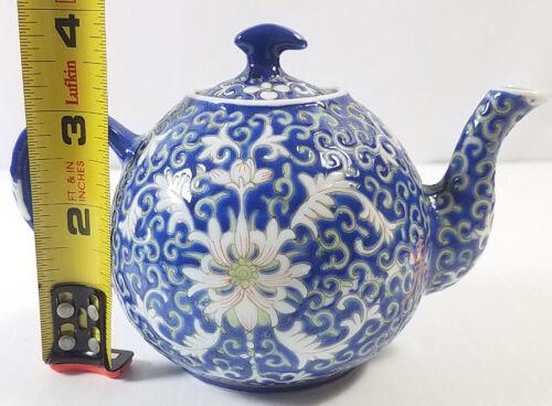 Asian Chinese Famille Rose Porcelain Blue Color Teapot - Qianlong Mark