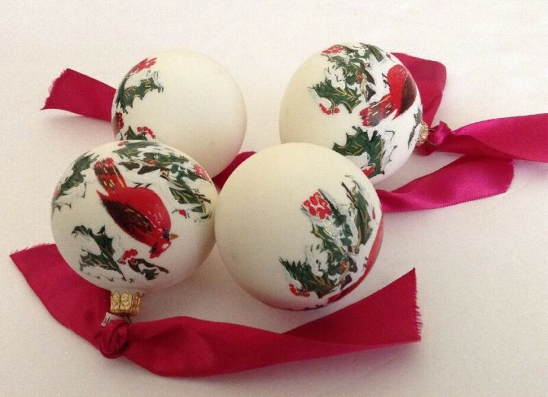 Hand Painted Christmas Ornaments Balls Set of 4 Red Cardinal Saks 5th Holiday