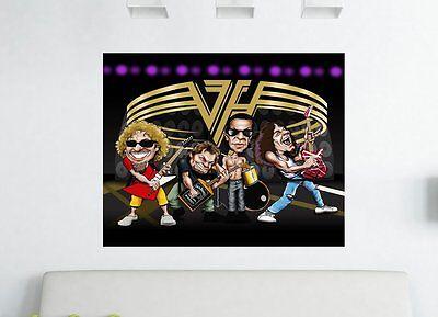 80's VAN HALEN Band Caricature Canvas Print 30 x 20