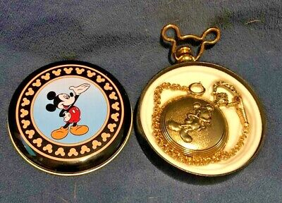 MICKEY UNLIMITED MUSICAL VERICHRON QUARTZ POCKET WATCH WITH TIN CASE GOLD TONE