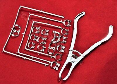 German Rubber Dam Kit Starter Of 19 Pcs Wframe Punch Clamps Dental Instruments