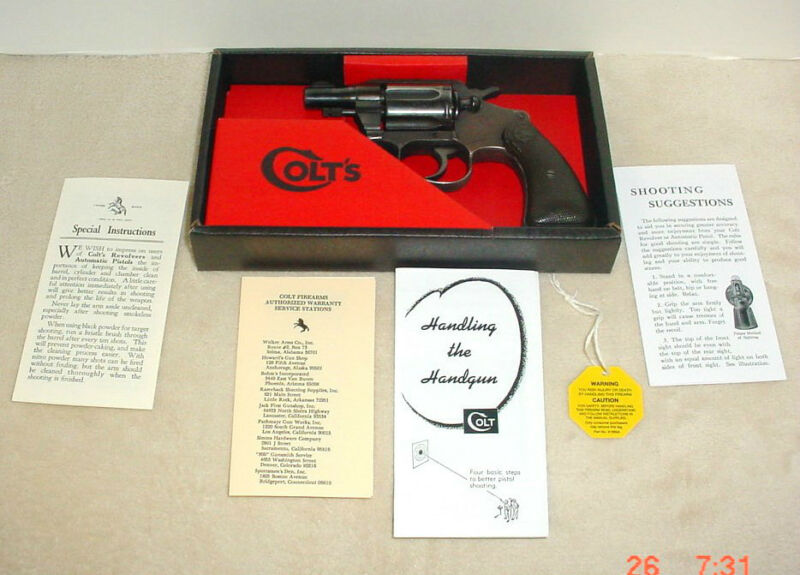 Colt Agent Cobra Diamondback 2 1/2  Det. Special Vintage Box & Paperwork 1964-72