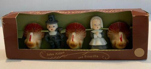 Gurley Thanksgiving Holiday Candles John Alden, Priscilla, 3 Turkeys Vintage