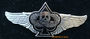 BIKER-WINGS-CARD-SPADE-DEATH-SKULL-PEWTER-PILOT-FLYING-WING-PIN-BAD-TO-THE-BONE