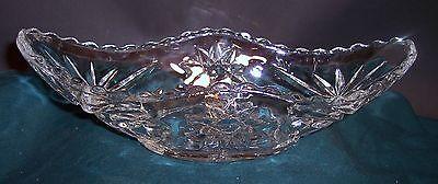 Vintage Clear Glass Star/Pinwheel Pattern Elongated Dish