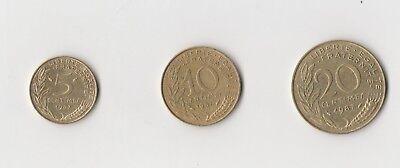 5 ,10 und 20 Centimes Frankreich  1987    (1890)   andere Jahrgänge auf Anfrage