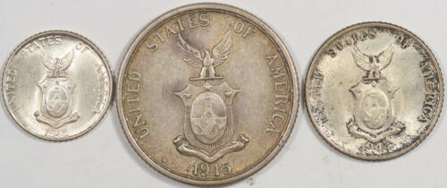 1944-D 1945-S US PHILIPPINES SILVER 10, 20, 50 CENTAVOS LOT OF 3 - AU/BU