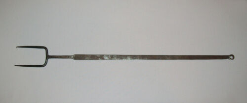 Antique Vtg Early 19th C 1820s Wrought Iron Hearth Roasting Fork Fireplace Nice