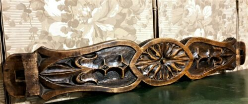 Fleur de lis rosette wood carving pediment Antique french architectural salvage