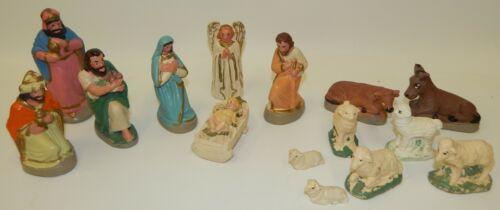 Beautiful Vintage Chalk Ware Christmas Nativity Scene Set with 15 Figures